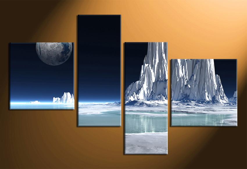 4 Piece Canvas Wall Decor, Snowy Mountain Multi Panel Art