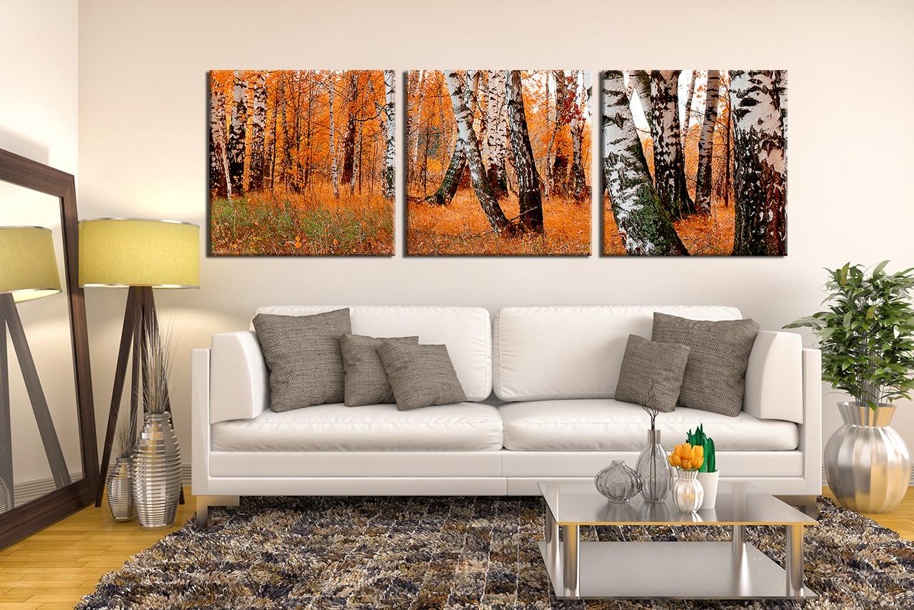 3 Piece Canvas Print, Scenery Canvas Photography, Orange