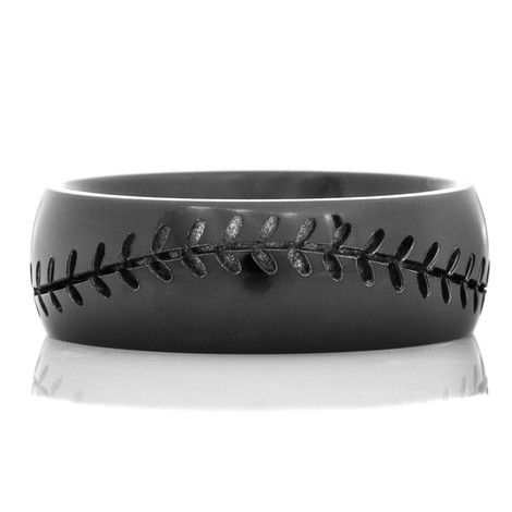 Mens Black Baseball Ring Titanium Buzz