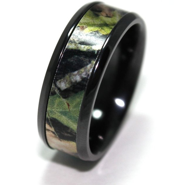Mens Black Mossy Oak Break Up Camo Ring Titanium Buzz