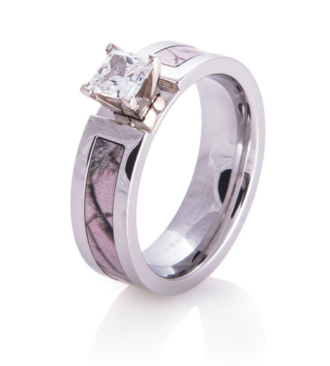 Realtree AP Pink Camo Engagement Ring Titanium Buzz