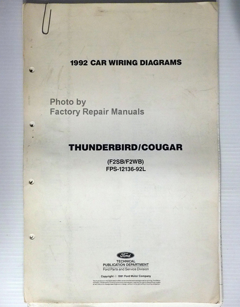 1992 Ford Thunderbird Mercury Cougar Electrical Wiring