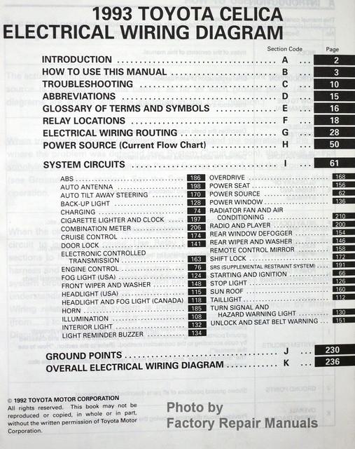 1993 Toyota Celica Electrical Wiring Diagrams  Original