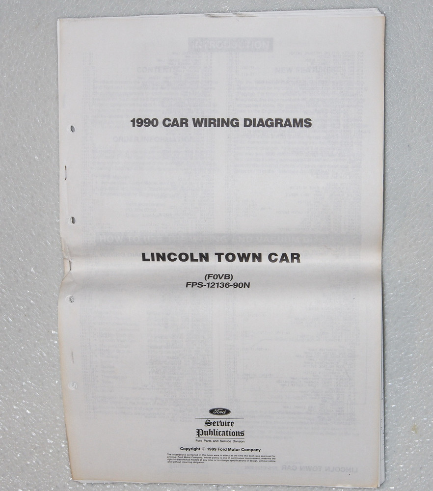 1990 Lincoln Town Car Electrical Wiring Diagrams Original
