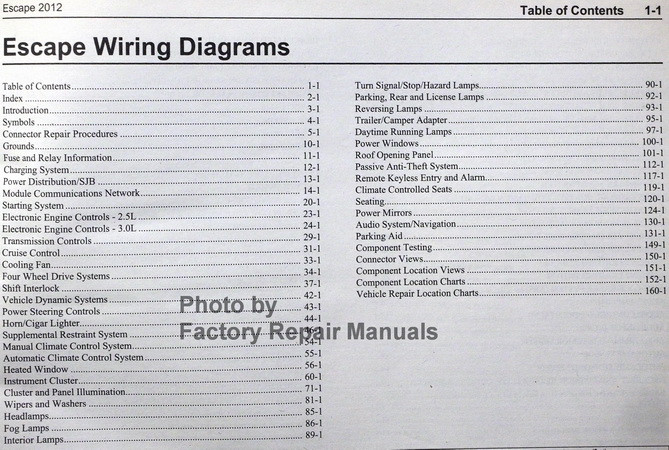 2012 Ford Escape Electrical Wiring Diagrams Manual  Gas