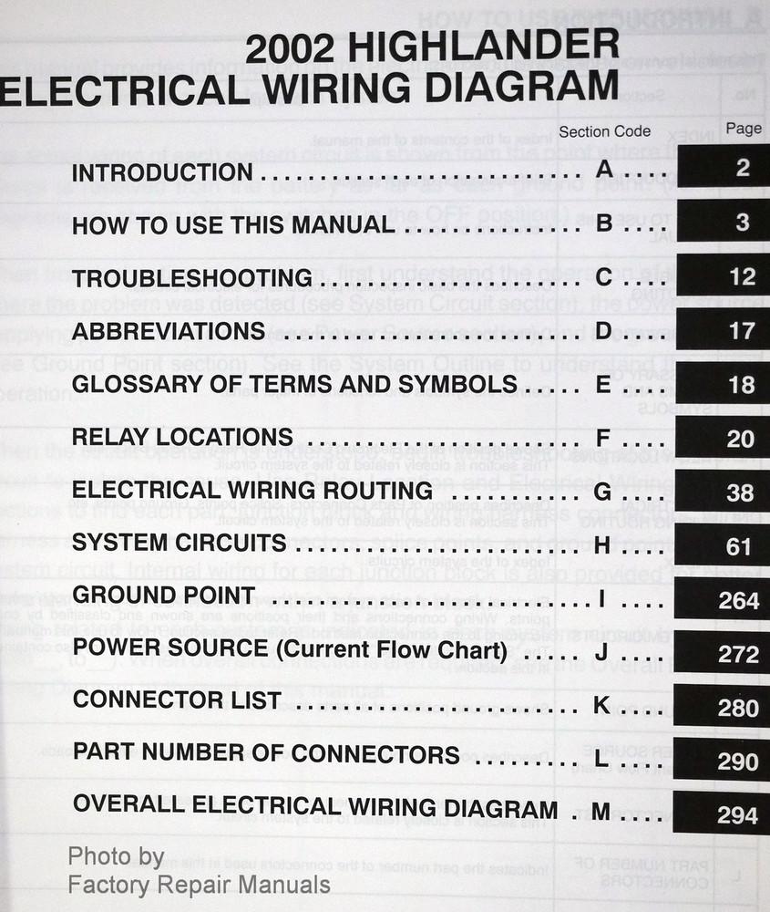 2002 Toyota Highlander Electrical Wiring Diagrams Original