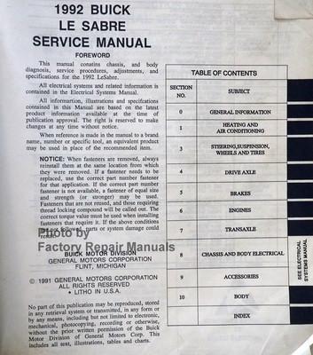 1992 Buick LeSabre Factory Service Manual Original Shop