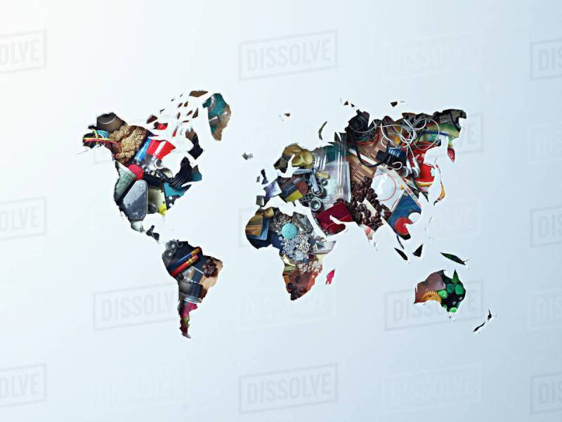 High angle view of world map outline over objects   Stock Photo     High angle view of world map outline over objects