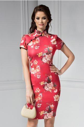 Rochie Armina rosie cu imprimeu floral