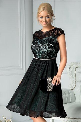 Rochie Cecille negru si turcoaz cu dantela si strasuri in talie