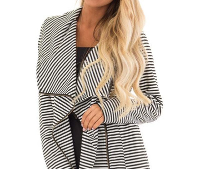 Black And White Striped Asymmetrical Zip Up Jacket
