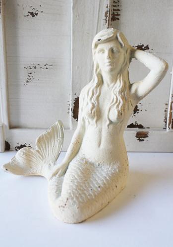 White Iron Mermaid Figure Nautical Home Decor
