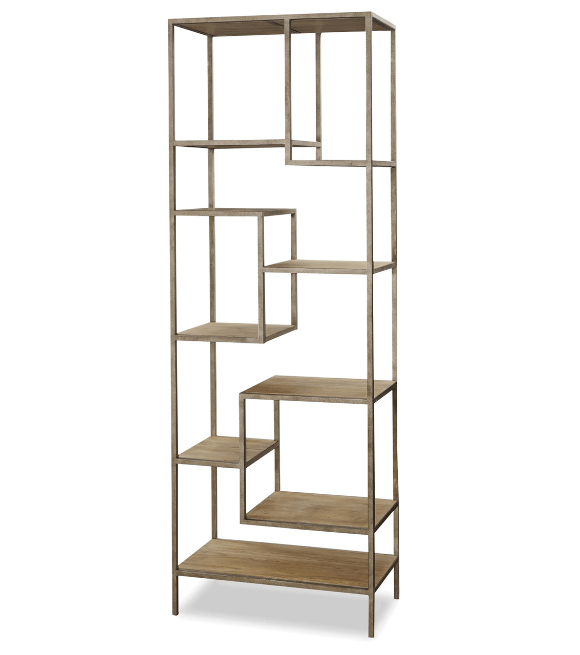 French Modern Industrial Wood Metal Bookcase Etagere
