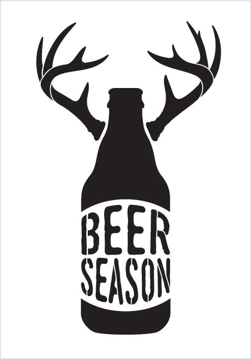 Download Beer Season - Bottle With Antlers - Word Art Stencil - 10 ...