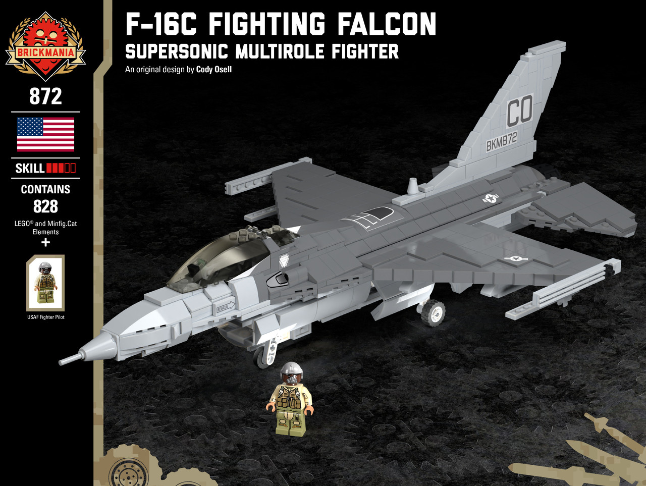 F 16C Fighting Falcon   Supersonic Multirole Fighter   Brickmania Toys F 16C Fighting Falcon   Supersonic Multirole Fighter