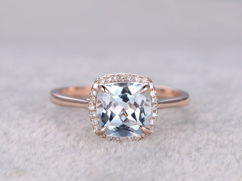 Rose Gold Aquamarine Engagement Rings Halo Promise Ring   BBBGEM White Gold Aquamarine Engagement Rings