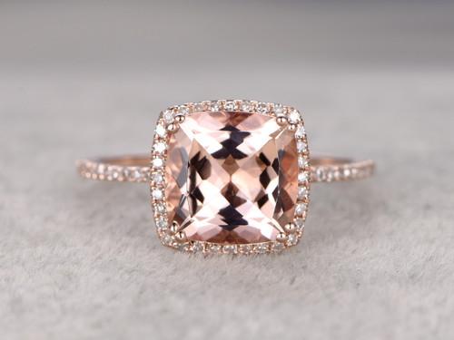9mm Big Cushion 3 Carat Morganite Engagement Ring Diamond