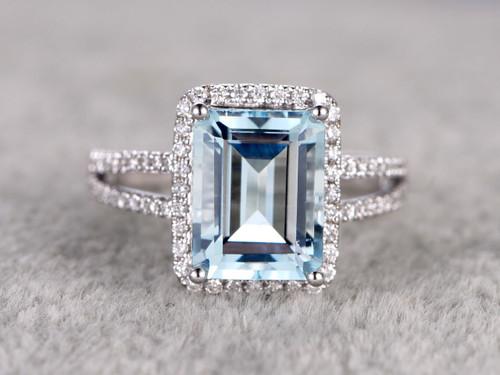 Emerald Cut Aquamarine Engagement Ring 10x12mm Split Shake