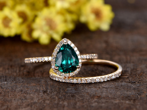 1 Carat Teardrop Emerald Wedding Set Diamond Bridal Ring
