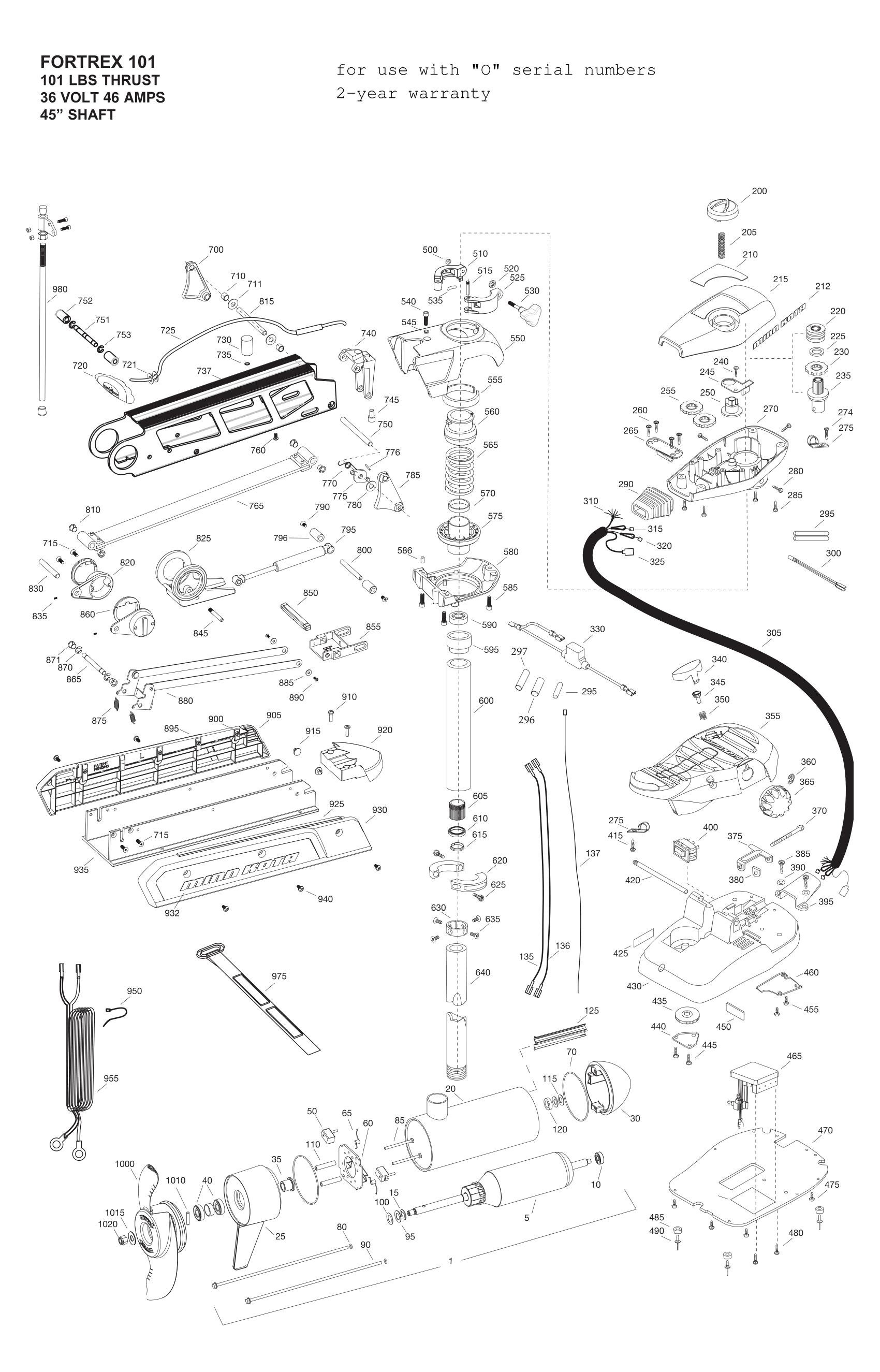 minn kota fortrex 101 45 inch parts parts