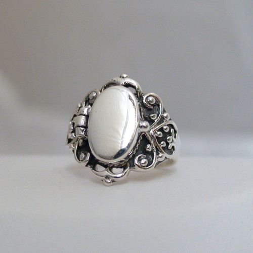 Sterling Silver Victorian Scroll Poison Ring