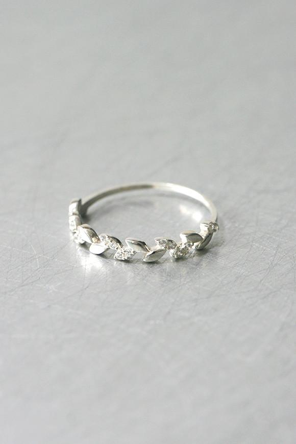 Dainty CZ Olive Leaf Ring Sterling Silver