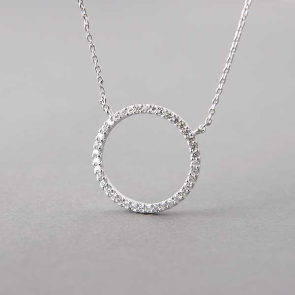 Swarovski White Gold Outline Circle Necklace Sterling