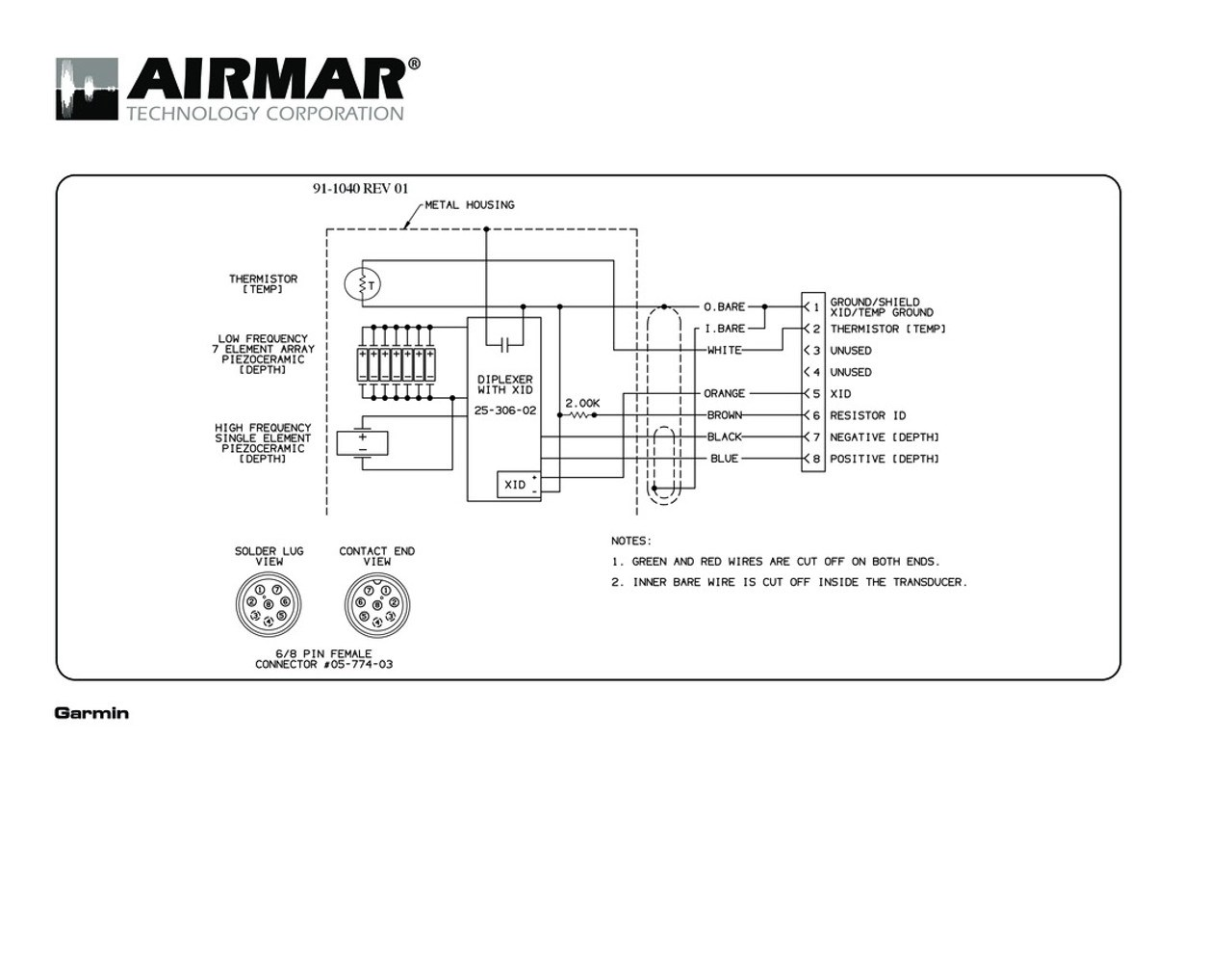 Airmar Wiring Diagram Garmin 1kw 8 pin (D,T) | Blue Bottle Marine