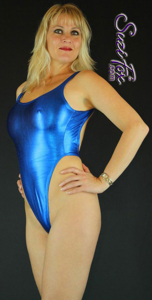 Womens One Piece T Back Thong Swim Suit Shown In Royal
