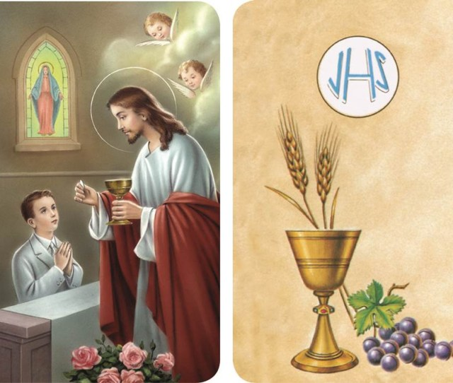 First Communion Boy Receiving The Sacrament From Jesus 2d Holy Card Ega56