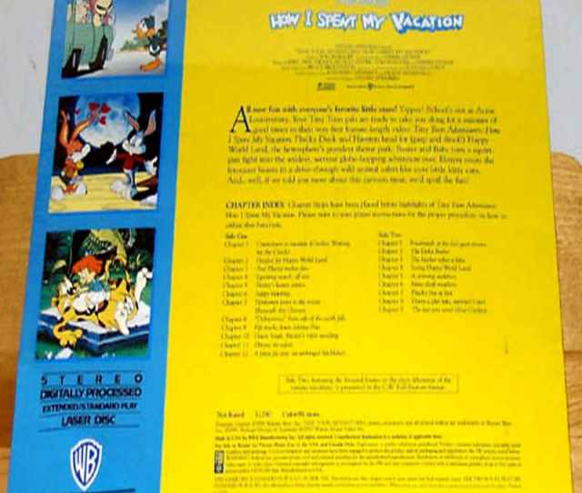 Tiny Toon Adventures How I Spent My Vacation Rare Laserdisc Cartoon Clearance