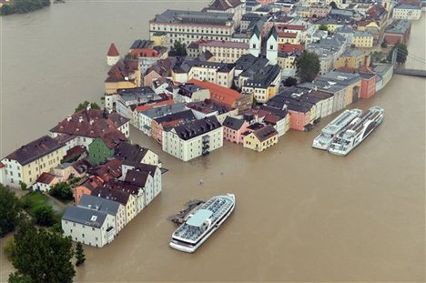 An aerial view of the flooding in Passau, Germany, photographed Monday June 3, 2013.