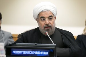 Hassan Rouhani, President of the Islamic Republic of Iran, addresses the Ministerial Meeting of the Non-Aligned Movement, 7 September 2013