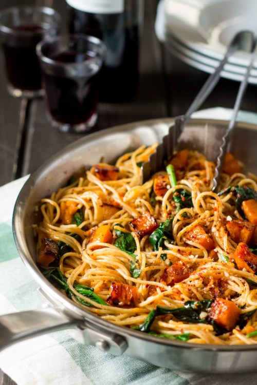 Fall Foods with Pumpkin Spinach Walnut Spaghetti