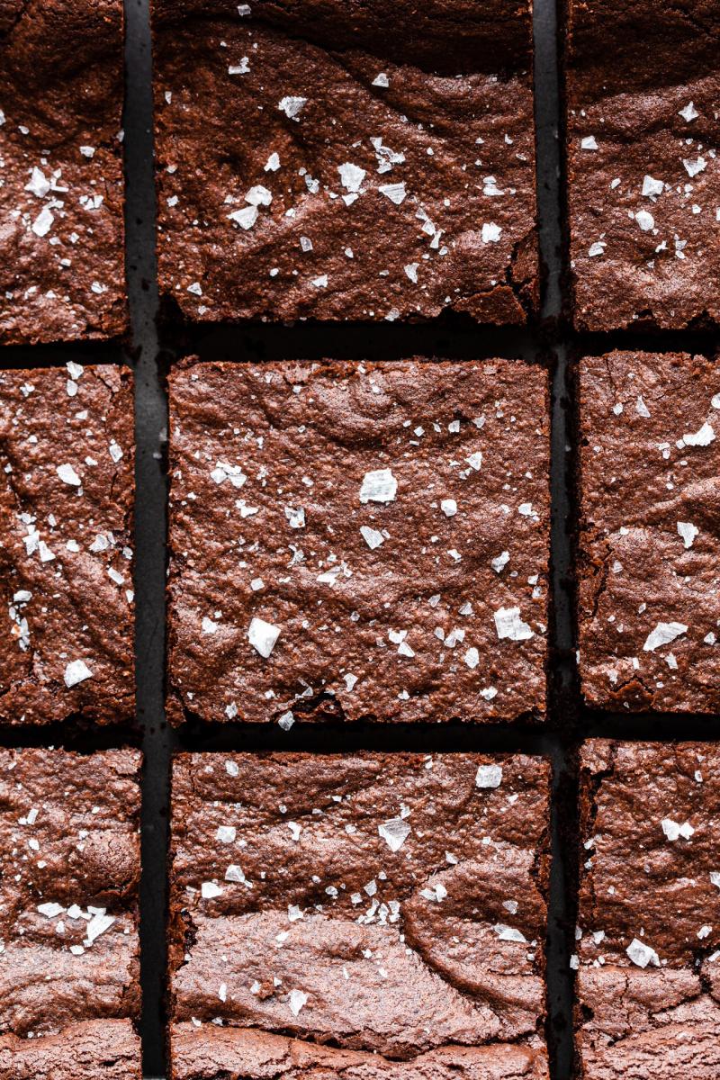 easy eggless brownies cut