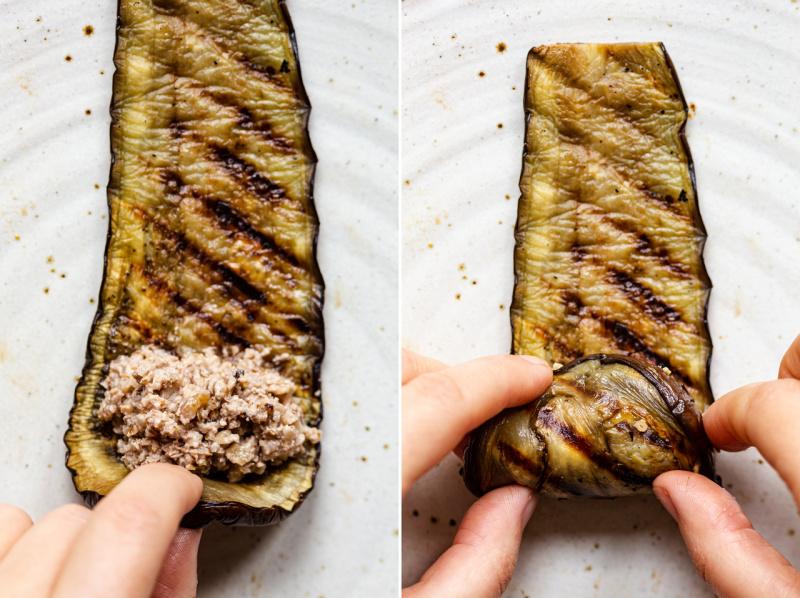 georgian eggplant rolls making
