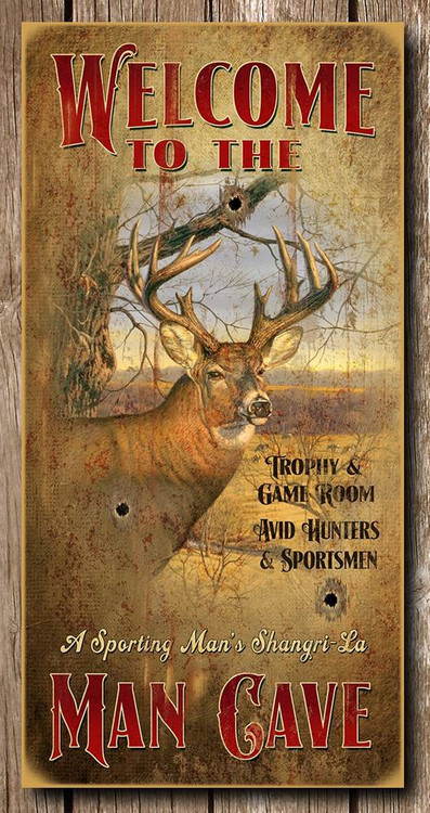 Welcome To The Man Cave Deer 15x30 Wooden Sign
