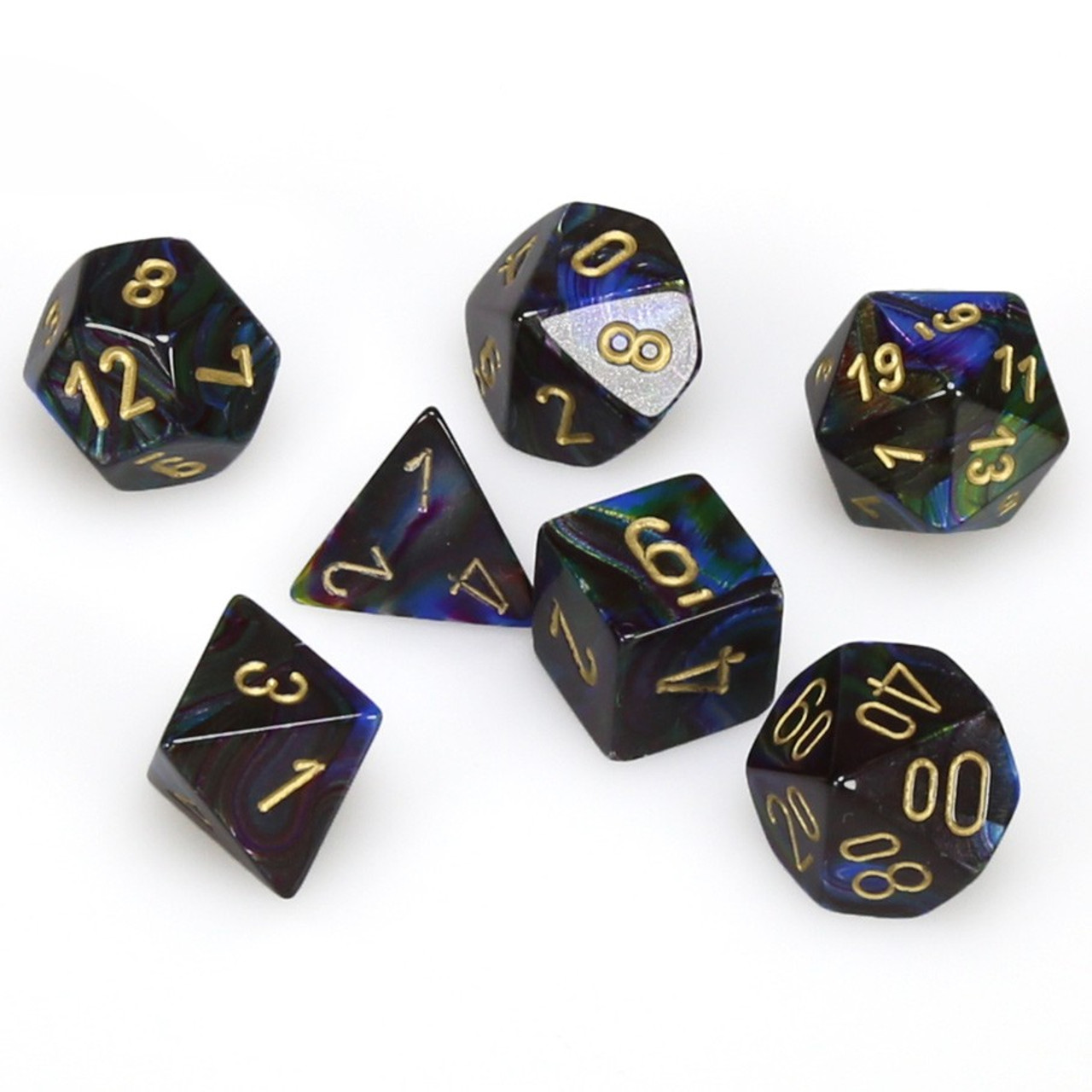 Lustrous 7 Piece Dice Set   Shadow   Dice Game Depot D D dice   7 Piece RPG Dice Set   Lustrous Shadow