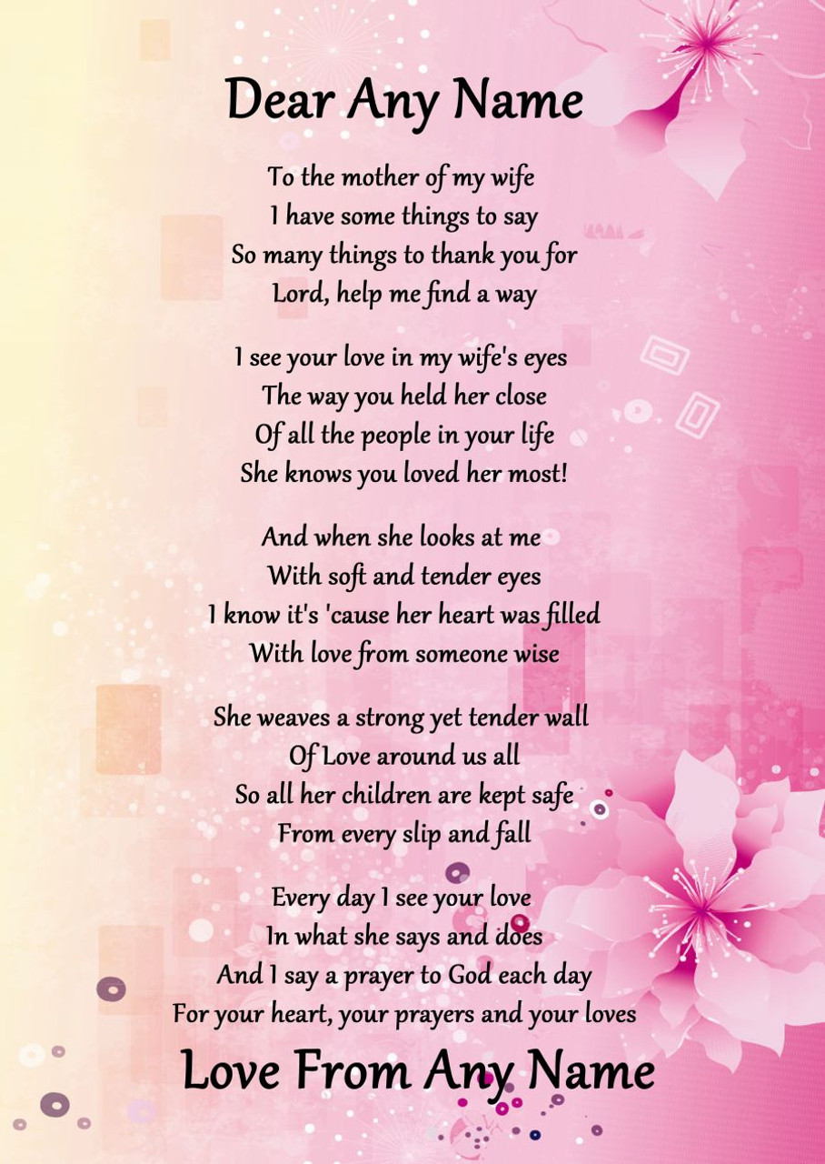 Pink Amp Yellow My Wifes Mother Personalised Poem