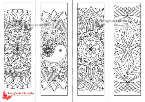 4 Printable Mandala Coloring Bookmarks 1 Tongs Art Studio