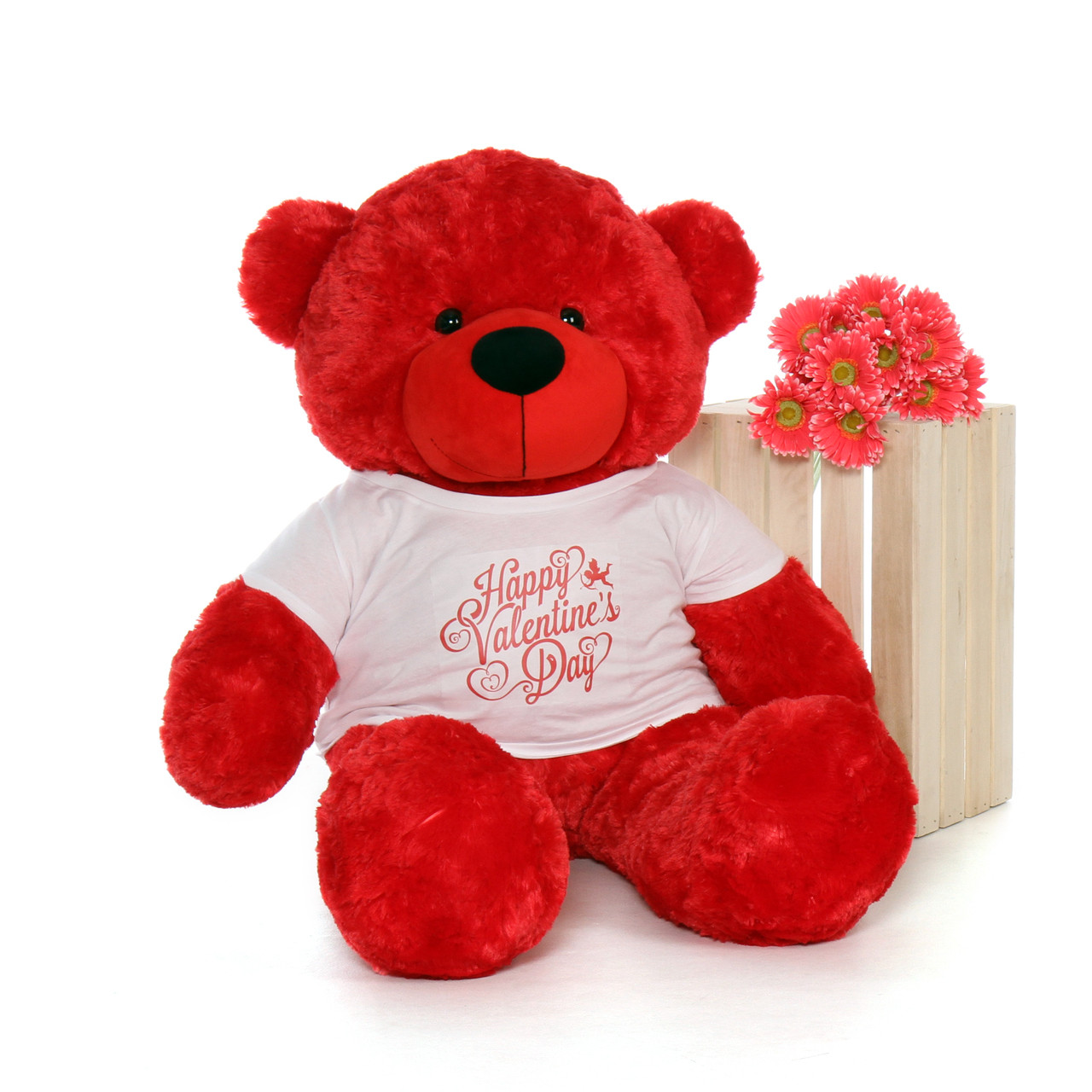 4ft Life Size Teddy Bear Wearing Happy Valentines Day
