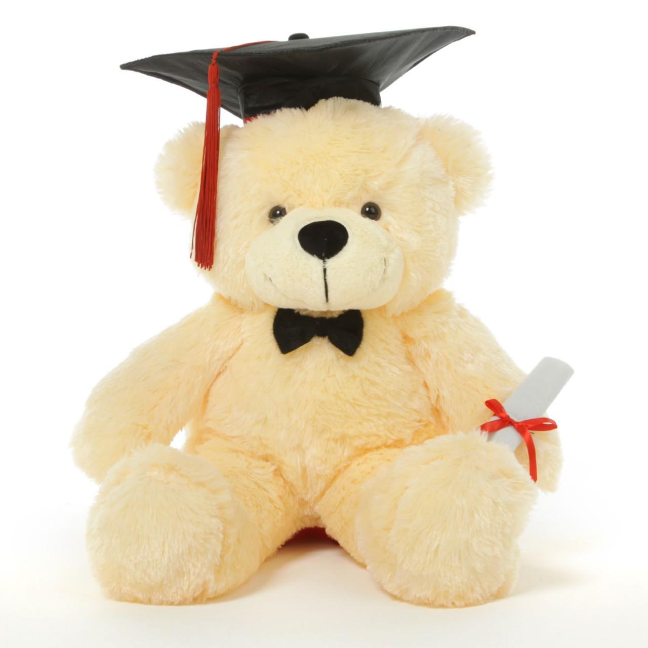 Cozy G Cuddles 24 Vanilla Graduation Teddy Bear With Cap