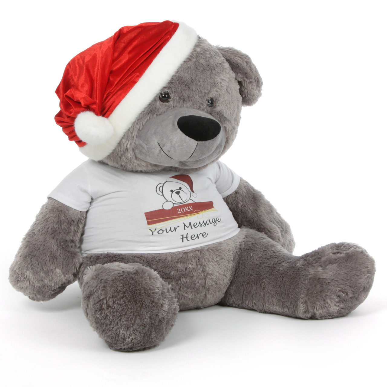 Huge Personalized Christmas Teddy Bear In A Red Santa Hat