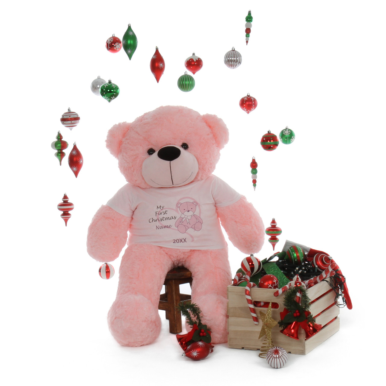 My First Christmas Personalized Pink Teddy Bear Pink Lady