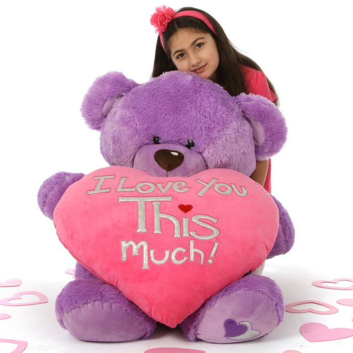 Huge 42in Purple Valentines Day Teddy Bear With Huge