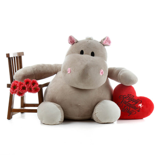 54in Life Size Happy Valentines Day Hippo And Plush Red