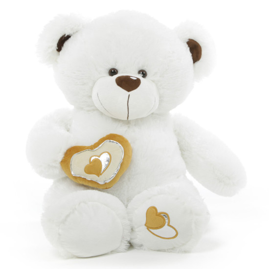 Chomps Big Love 36 White Valentine Teddy Bear Giant