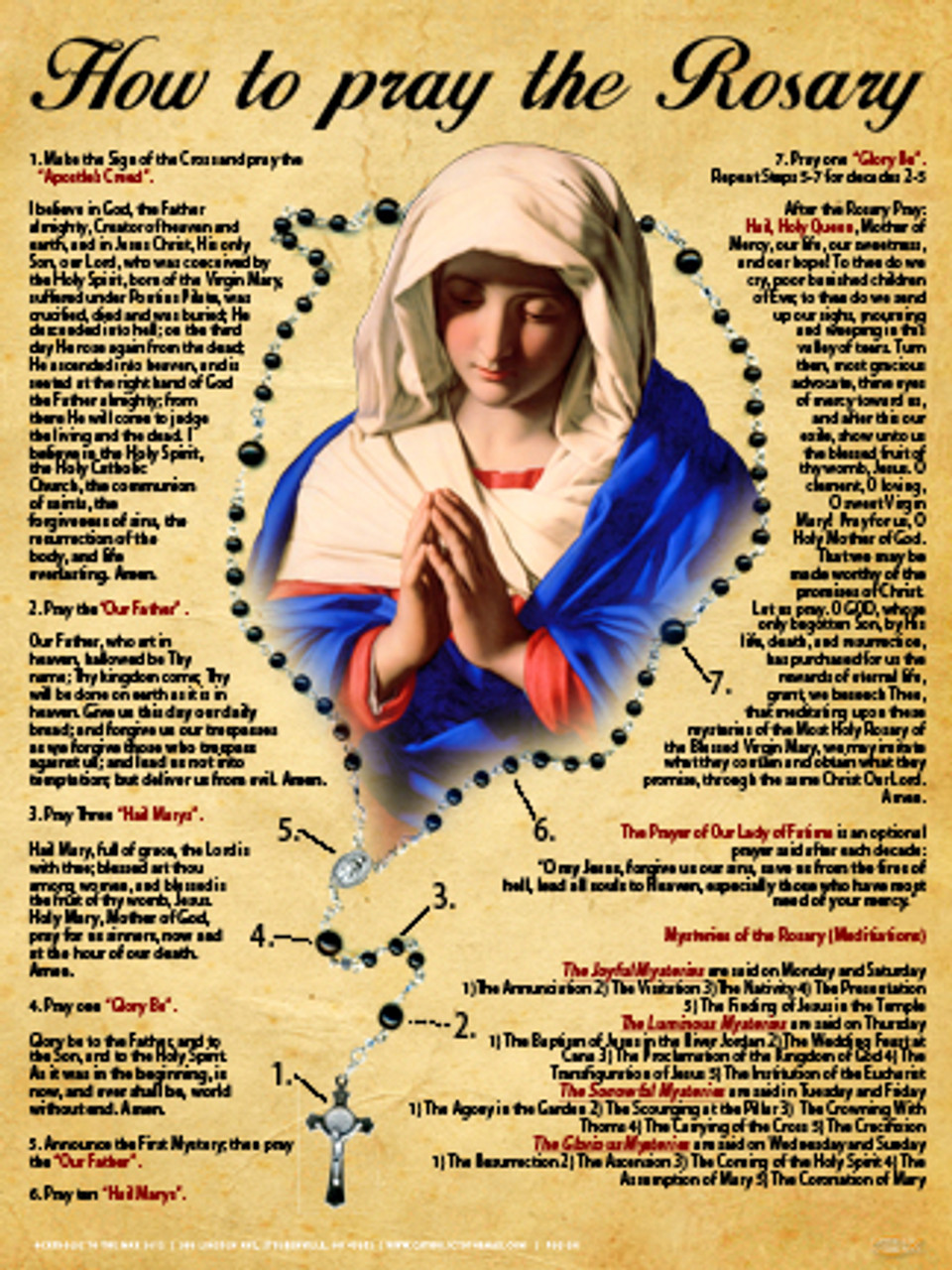 How to pray the rosary poster praying the rosary rosary