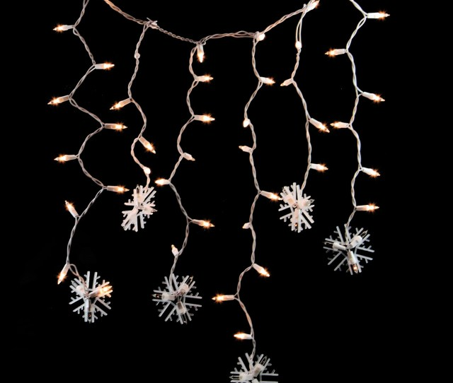 Set Of  Clear Lighted Twinkling Snowflake Icicle Christmas Lights White Wire Christmas Central