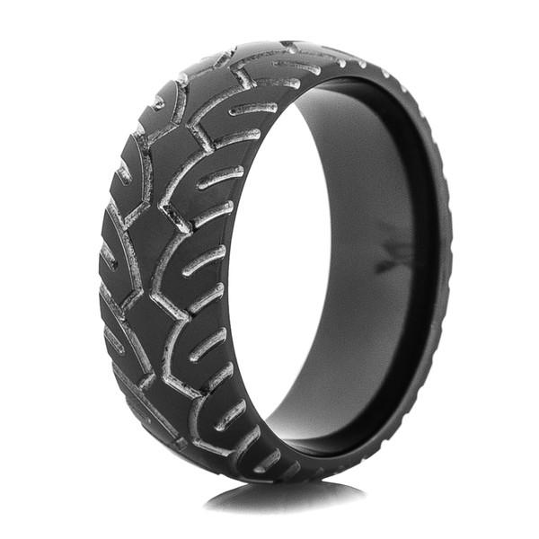 Mens Black Motorcycle Ring Titanium Buzz